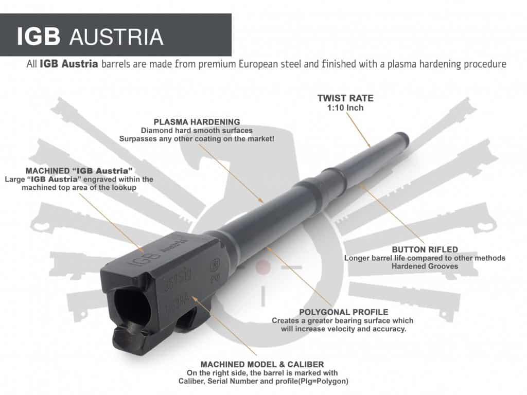 "Gen 3 & 4 Glock 10"" Barrels IGB Austria Match Grade Polygonal Profile 10"" Threaded Barrel For 9mm & .357sig Calibers 1"