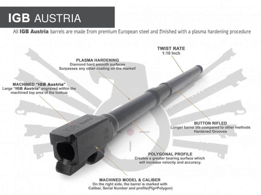 "Gen 3 & 4 Glock 16"" Long Barrel - IGB Austria Match Grade Polygonal 16"" Threaded Barrel For 9x19 & .357 Sig Caliber 1"