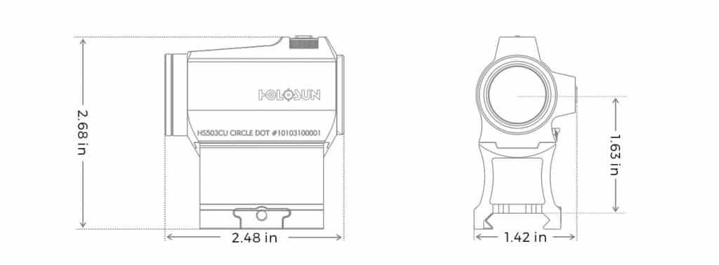 Holosun HE503CU-GR Green Dot / Circle Dot Micro Sight With Solar Panel 1